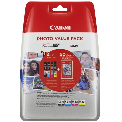 Canon blækpatron CLI-551XL Multipak + Photo