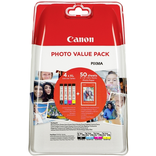 Canon blækpatron CLI-571XL Multipak + Photo