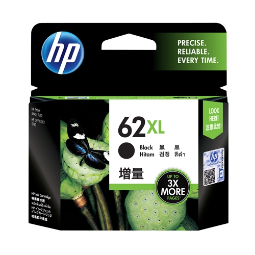 hp blækpatron C2P05AE 62XL sort